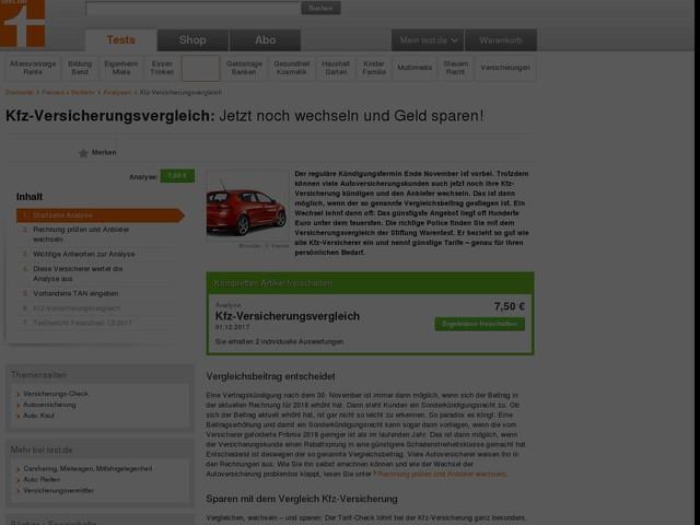 Kfz-Versicherungsvergleich - Jetzt noch wechseln und Geld sparen! - Analyse - Stiftung Warentest