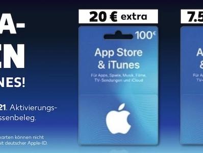 iTunes Karten bei Kaufland: bis zu 20 Prozent Extra-Guthaben