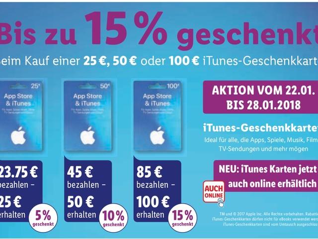 Lidl: bis zu 15 Prozent Rabatt auf iTunes Karten