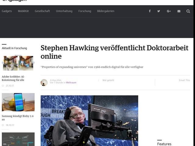 Stephen Hawking veröffentlicht Doktorarbeit online