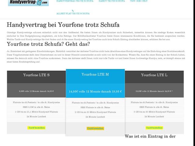 Yourfone Handy - trotz Schufa zum LTE Handyvertrag.