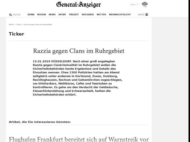 Razzia gegen Clans im Ruhrgebiet