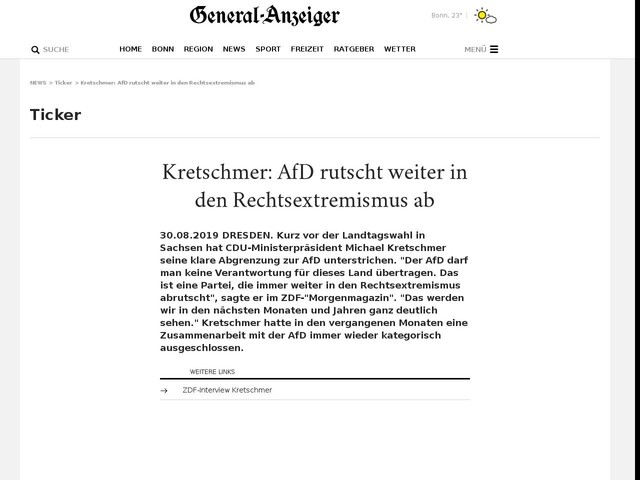 Kretschmer: AfD rutscht weiter in den Rechtsextremismus ab