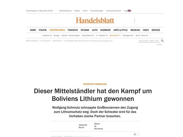 Rohstoff-Förderung: Dieser Mittelständler hat den Kampf um Boliviens Lithium gewonnen