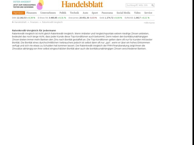 Ratenkredit-Vergleich - Handelsblatt Online