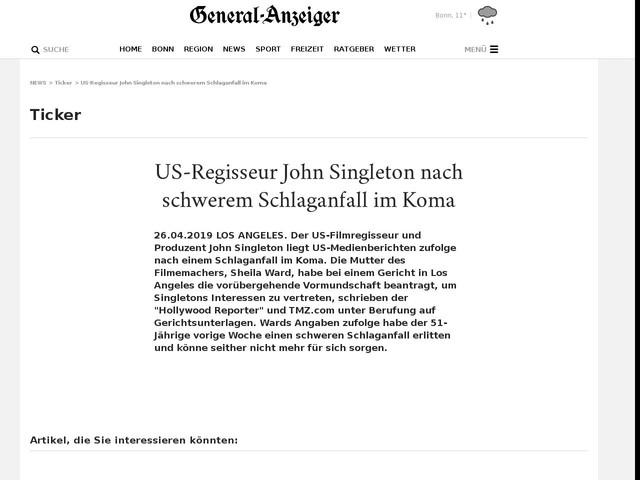 US-Regisseur John Singleton nach schwerem Schlaganfall im Koma