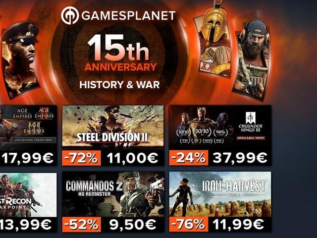 """Anzeige: 15 Jahre Gamesplanet: Teil 6 der Jubiläums-Angebote mit über 250 reduzierten Spielen unter dem Motto """"History & War"""", dazu: Wargame Airland Battle gratis"""