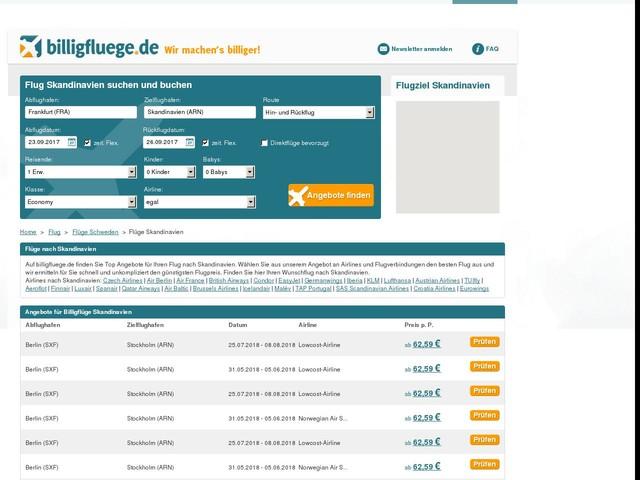 Flüge Skandinavien online buchen - den besten Preis finden - billigfluege.de