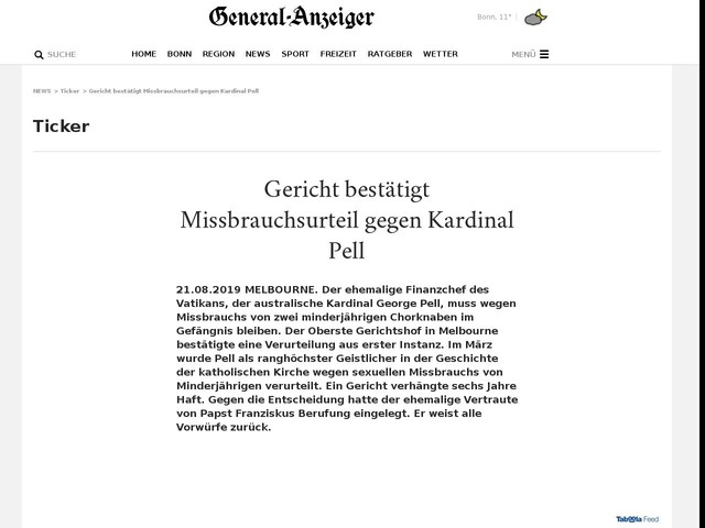 Gericht bestätigt Missbrauchsurteil gegen Kardinal Pell