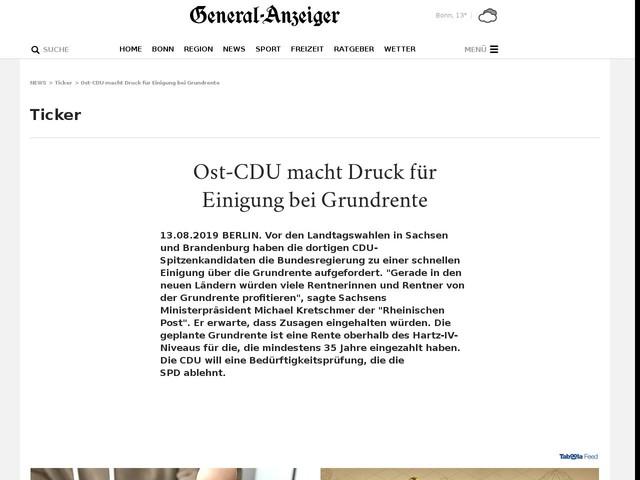 Ost-CDU macht Druck für Einigung bei Grundrente