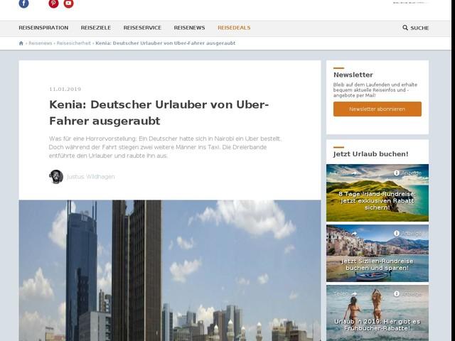 Kenia: Deutscher Urlauber von Uber-Fahrer ausgeraubt