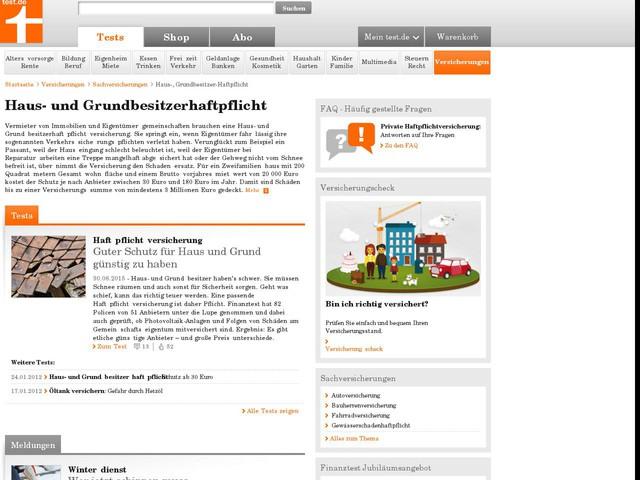 Haus- und Grundbesitzerhaftpflicht - Stiftung Warentest