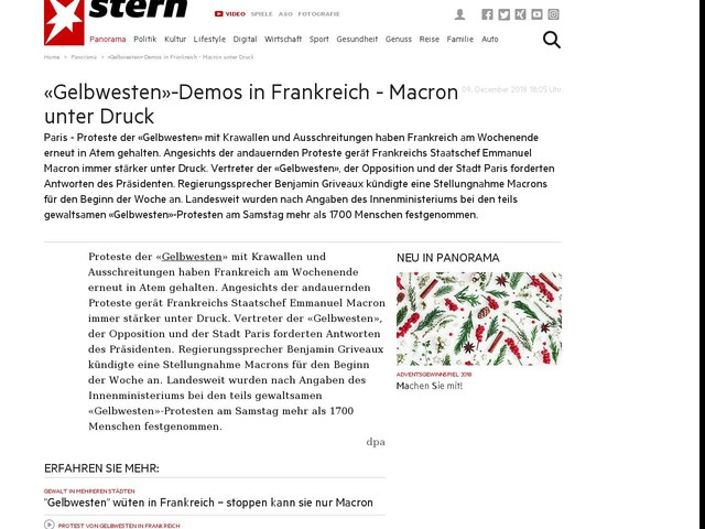 «Gelbwesten»-Demos in Frankreich - Macron unter Druck