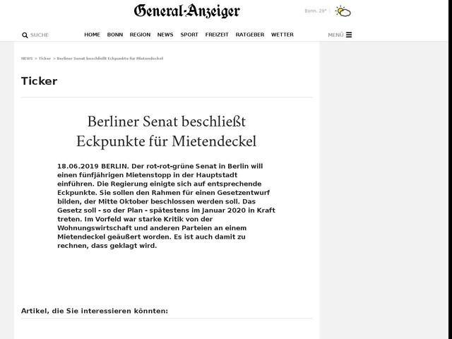 Berliner Senat beschließt Eckpunkte für Mietendeckel