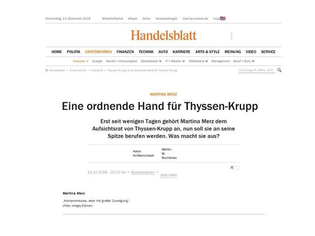 Martina Merz: Eine ordnende Hand für Thyssen-Krupp