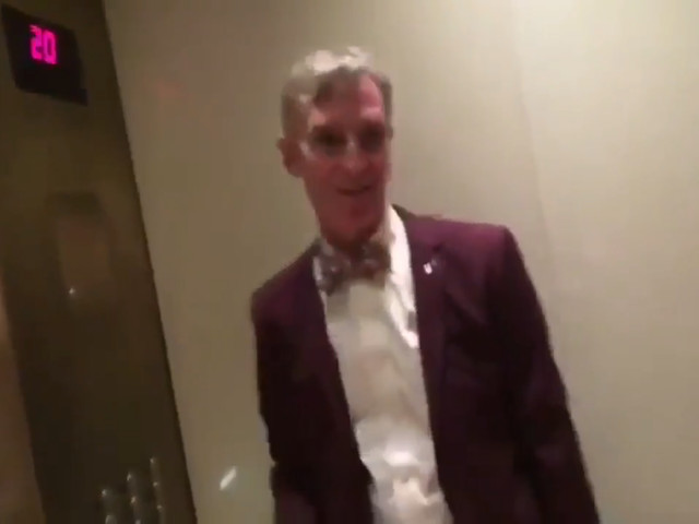Bill Nye Is Totally Chill About What's Happening in This Elevator