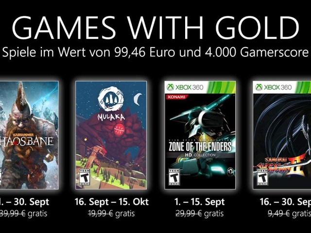 Xbox Games with Gold: Im September 2021 mit Warhammer Chaosbane, Mulaka und Zone of the Enders 3D Collection