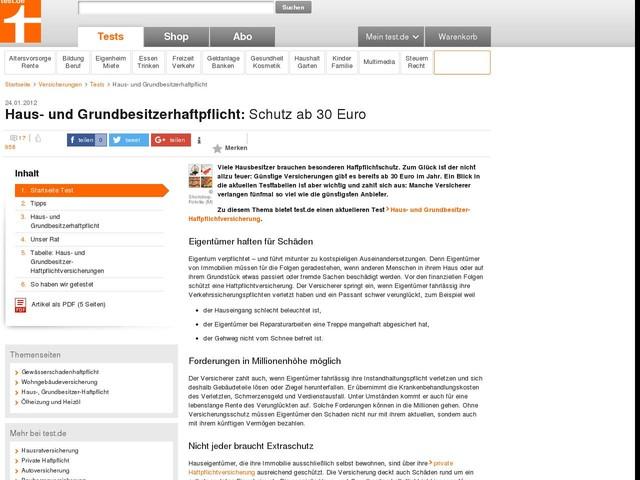 Haus- und Grundbesitzerhaftpflicht - Schutz ab 30 Euro - Test - Stiftung Warentest