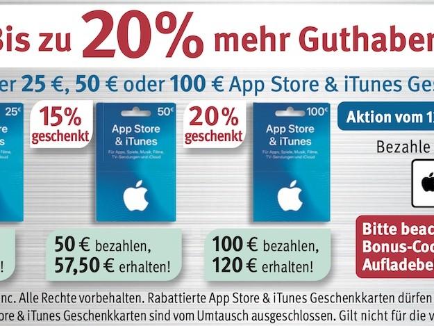 iTunes Karten günstiger: bis zu 20 Prozent Bonus bei Rossmann