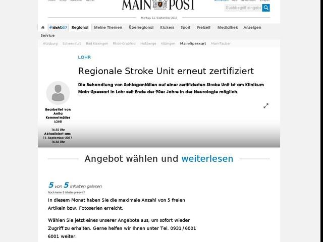 Regionale Stroke Unit erneut zertifiziert