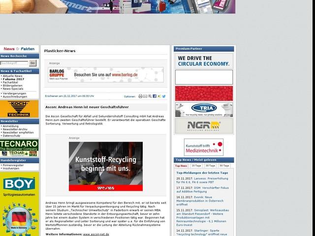 Ascon: Andreas Henn ist neuer Geschäftsführer