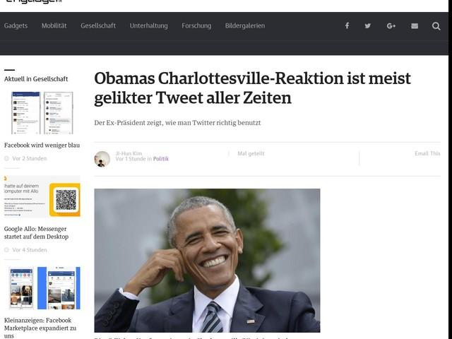 Obamas Charlottesville-Reaktion ist meist gelikter Tweet aller Zeiten
