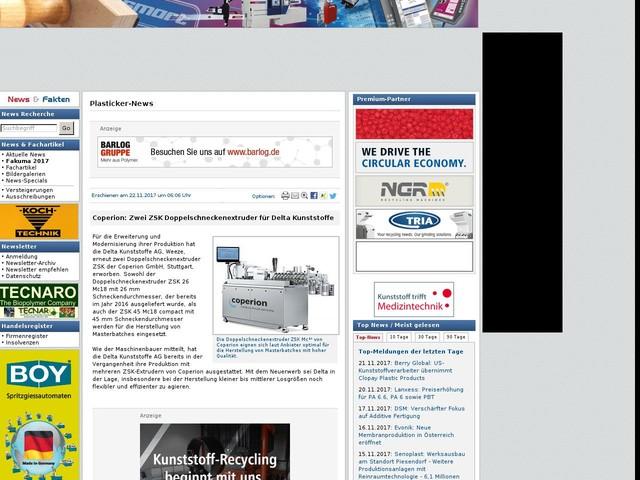 Coperion: Zwei ZSK Doppelschneckenextruder für Delta Kunststoffe