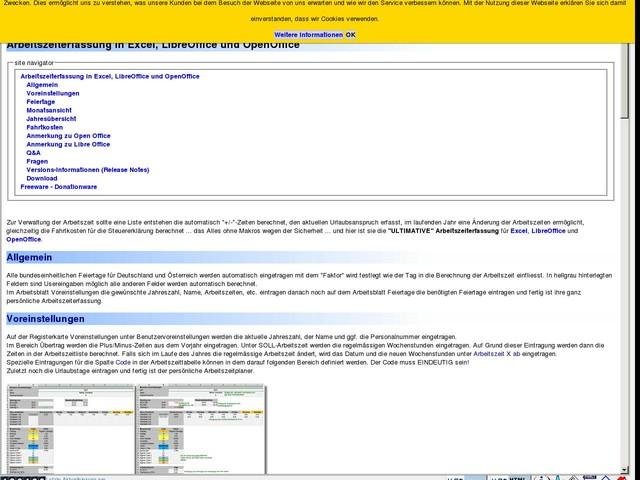 Arbeitszeiterfassung in Excel und OpenOffice