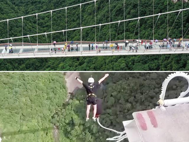 Verrückter Nervenkitzel: Wer traut sich den Bungee-Jump von Chinas höchster Glasboden-Brücke?