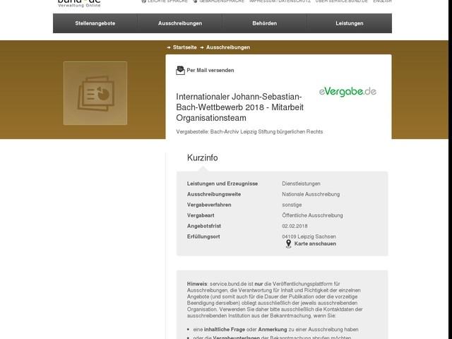 Internationaler Johann-Sebastian-Bach-Wettbewerb 2018 - Mitarbeit Organisationsteam