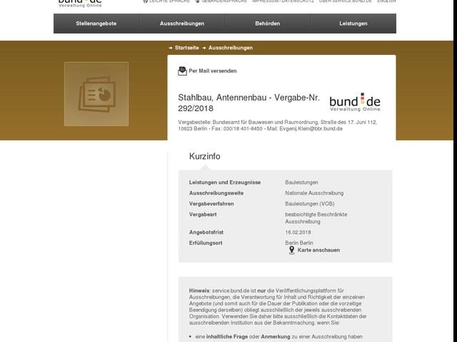 Stahlbau, Antennenbau - Vergabe-Nr. 292/2018