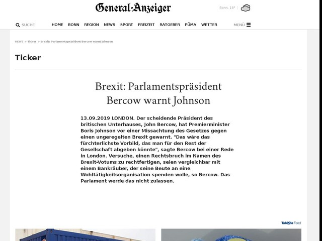 Brexit: Parlamentspräsident Bercow warnt Johnson