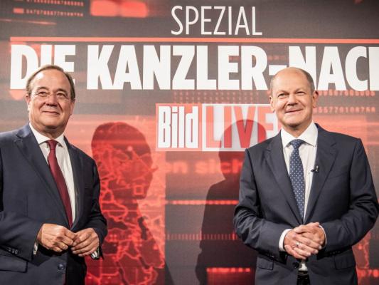 """""""Kanzlernacht"""" bei Bild TV: Laschet schließt weiteren Lockdown aus, Scholz glaubt an mehr als 22 %."""