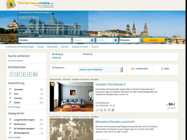 Ferienhäuser & Ferienwohnungen in Dresden mieten
