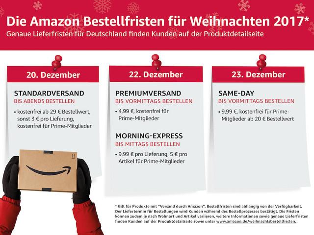 Amazon informiert über Bestellfristen zu Weihnachten