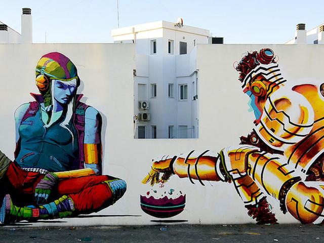 """Playing The Game"" – Künstler Deih & Xelon mit Kolllabo-Mural in Torre-Pacheco // Spain"
