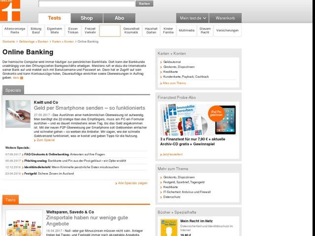 Online Banking - Stiftung Warentest