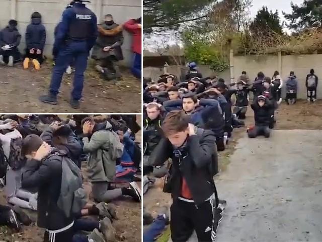 Französische Schüler wie zur Exekution aufgereiht