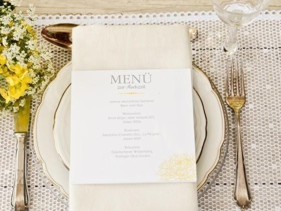 Menükarten für Hochzeit selbst gestalten