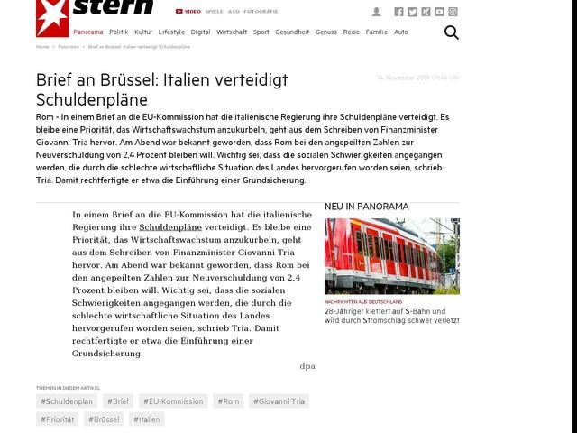 Brief An Brüssel Italien Verteidigt Schuldenpläne Anderes