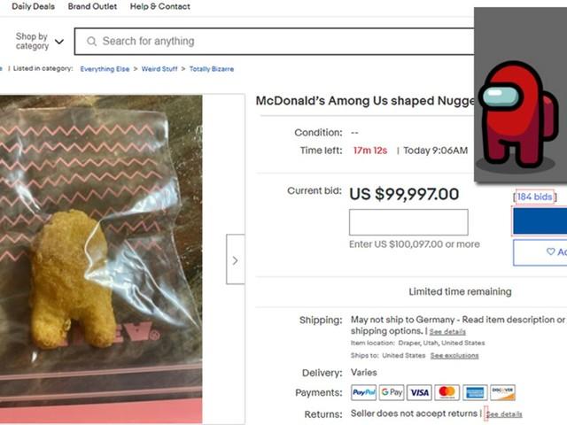 """Kulinarisches Sammlerstück: Erinnert an """"Among us!""""-Männchen: Chicken Nugget bei Ebay für 100.000 Dollar versteigert"""