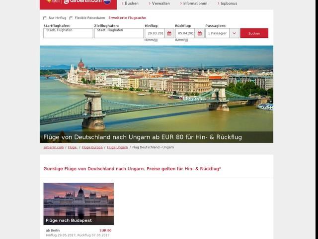 Flug von Deutschland nach Ungarn ab EUR 80 Hin- & Rückflug | airberlin