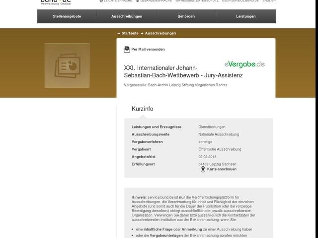 XXI. Internationaler Johann-Sebastian-Bach-Wettbewerb - Jury-Assistenz