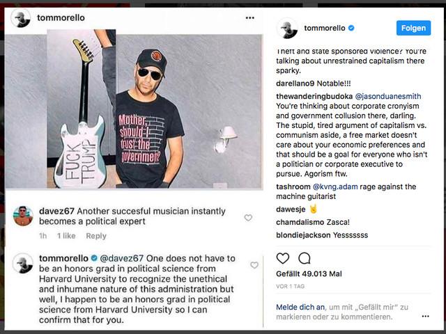 Mit dieser Antwort auf einen Kritiker hat Tom Morello gerade Instagram gewonnen