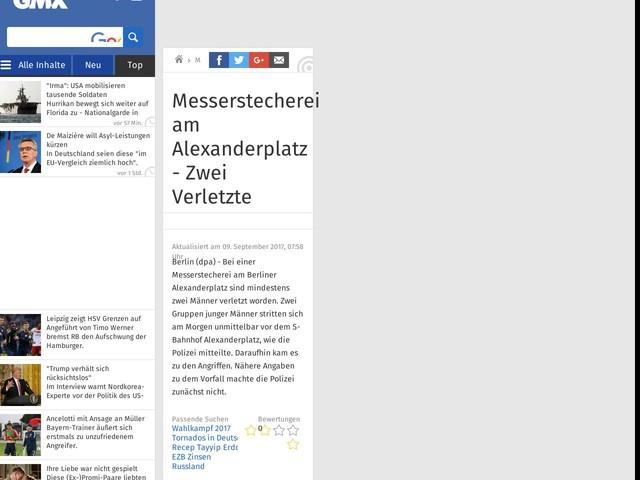 Messerstecherei am Alexanderplatz - Zwei Verletzte