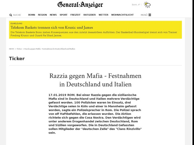 Razzia gegen Mafia - Festnahmen in Deutschland und Italien