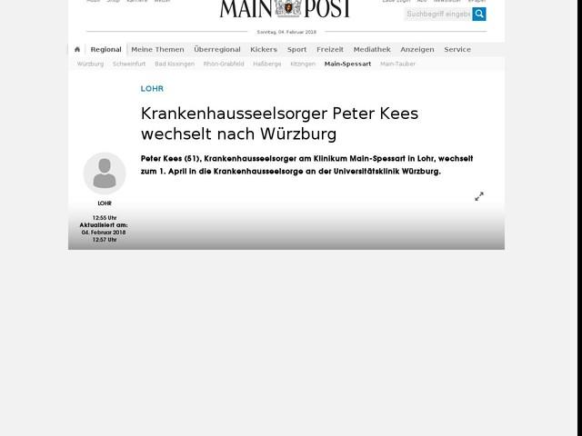 Krankenhausseelsorger Peter Kees wechselt nach Würzburg