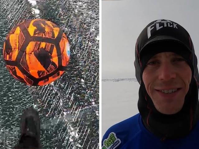 Weltrekord-Versuch: 80 Kilometer in zwei Tagen: John Farnworth jongliert Ball über zugefrorenen Baikalsee
