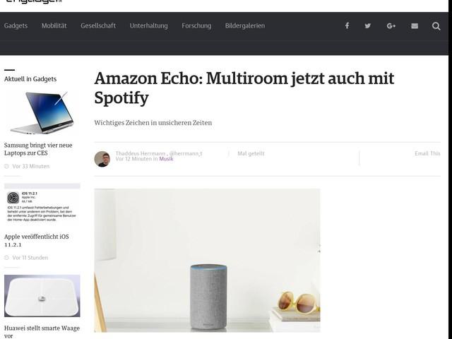 Amazon Echo: Multiroom jetzt auch mit Spotify