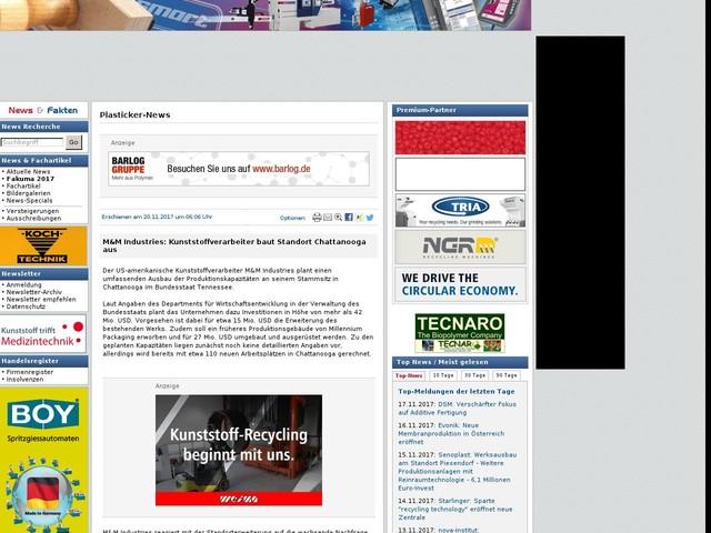 M&M Industries: Kunststoffverarbeiter baut Standort Chattanooga aus